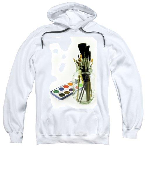 Watercolors And Brushes In Glass Jar Sweatshirt