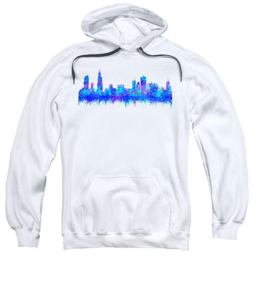 Watercolour Splashes And Dripping Effect Chicago Skyline Sweatshirt