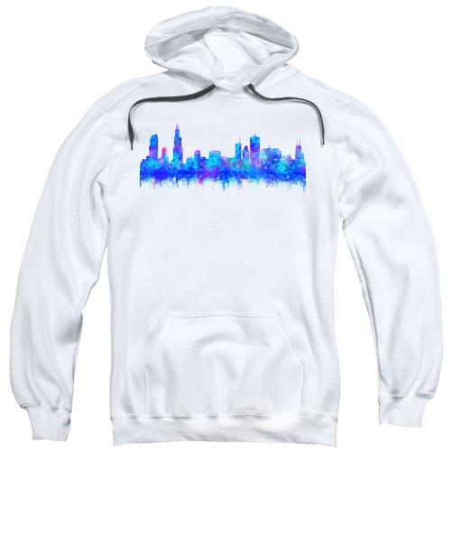 Watercolour Splashes And Dripping Effect Chicago Skyline Sweatshirt