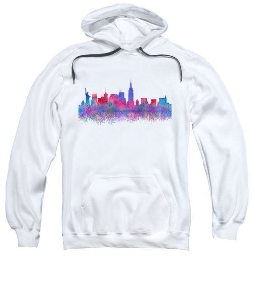 Sweatshirt featuring the digital art Watercolour Splashes New York City Skylines by Georgeta Blanaru