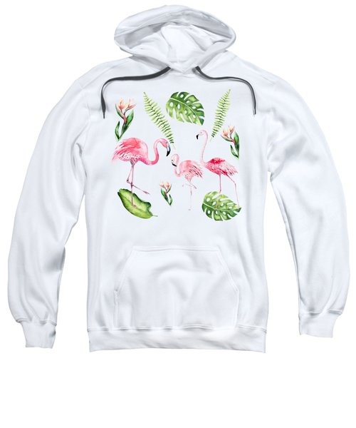 Sweatshirt featuring the painting Watercolour Tropical Beauty Flamingo Family by Georgeta Blanaru