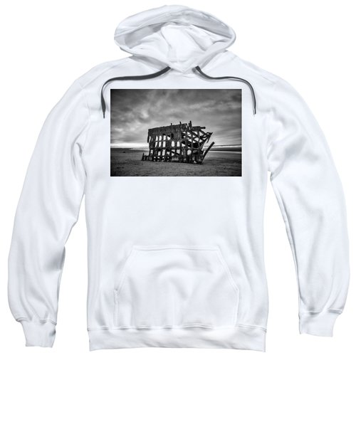 Weathered Rusting Shipwreck In Black And White Sweatshirt
