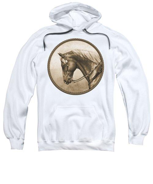 Western Pleasure Horse Phone Case In Sepia Sweatshirt