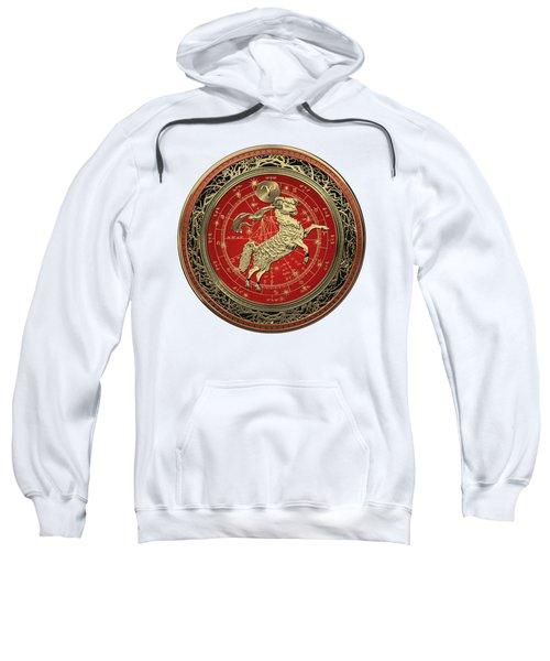 Western Zodiac - Golden Aries -the Ram On White Leather Sweatshirt