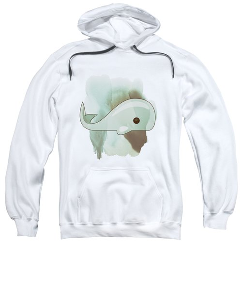 Whale Art - Bright Ocean Life Pastel Color Artwork Sweatshirt by Wall Art Prints