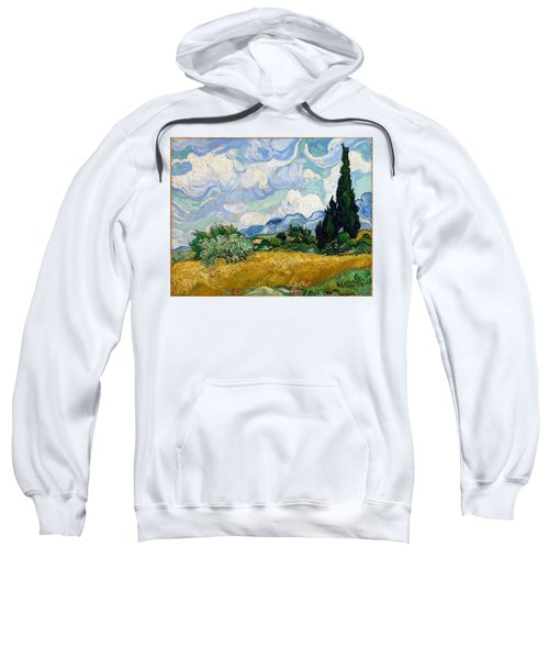 Sweatshirt featuring the painting Wheatfield With Cypresses by Van Gogh