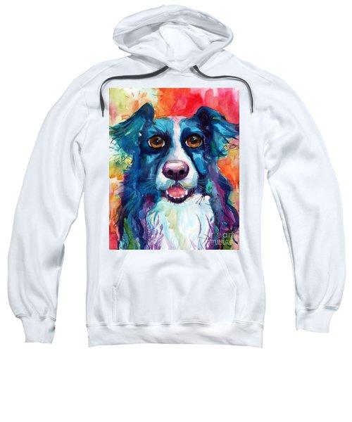 Whimsical Border Collie Dog Portrait Sweatshirt
