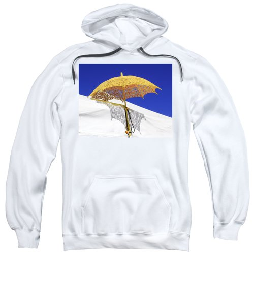 White At Base And Yellow On Blue Sweatshirt