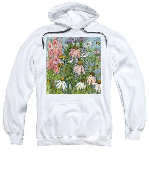 White Coneflowers In Garden Sweatshirt