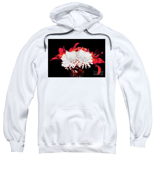 White Mums And Red Lilies Sweatshirt