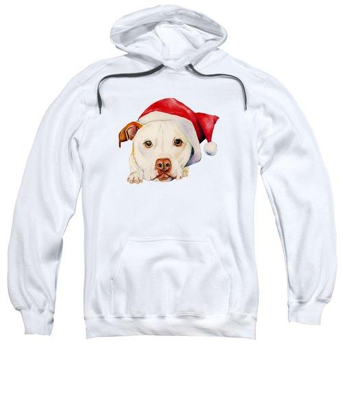 White Pit Bull Terrier Dog With Santa Hat Portrait Sweatshirt