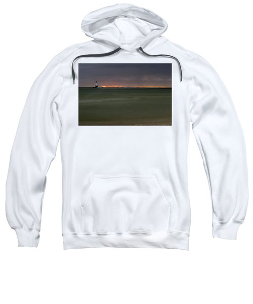 Wide View Of Lighthouse And Sunset Sweatshirt