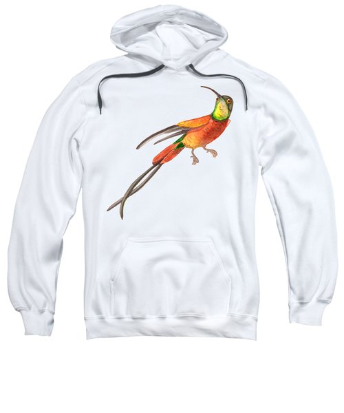 Winged Jewel 6, Watercolor Tropical Rainforest Hummingbird Red, Yellow, Orange And Green Sweatshirt