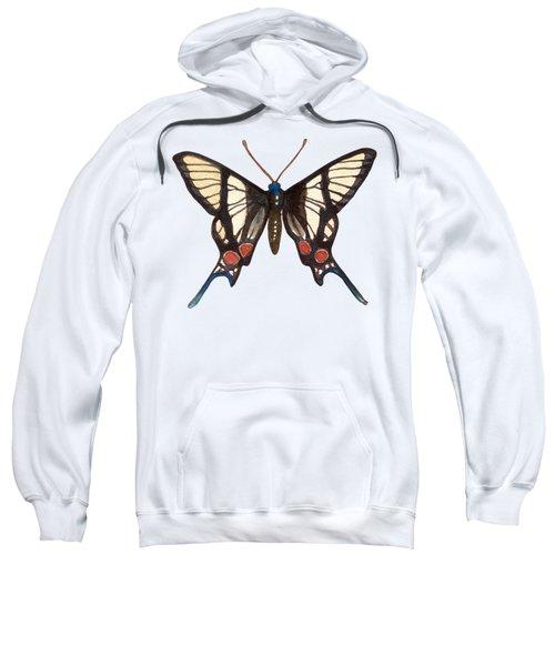 Winged Jewels 4, Watercolor Tropical Butterflie Black White Red Spots Sweatshirt