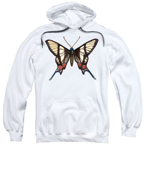 Winged Jewels 4, Watercolor Tropical Butterflie Black White Red Spots Sweatshirt