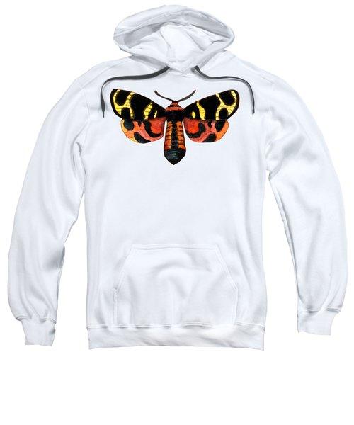 Winged Jewels 5, Watercolor Moth Black Yellow Orange And Red Tropical Sweatshirt