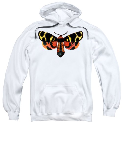 Winged Jewels 5, Watercolor Moth Black Yellow Orange And Red Tropical Sweatshirt