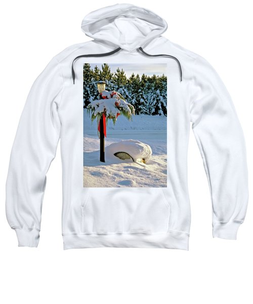 Winter Lamp Post In The Snow With Christmas Bough Sweatshirt