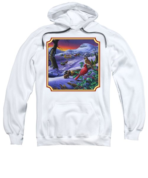Winter Mountain Landscape - Cardinals On Holly Bush - Small Town - Sleigh Ride - Square Format Sweatshirt