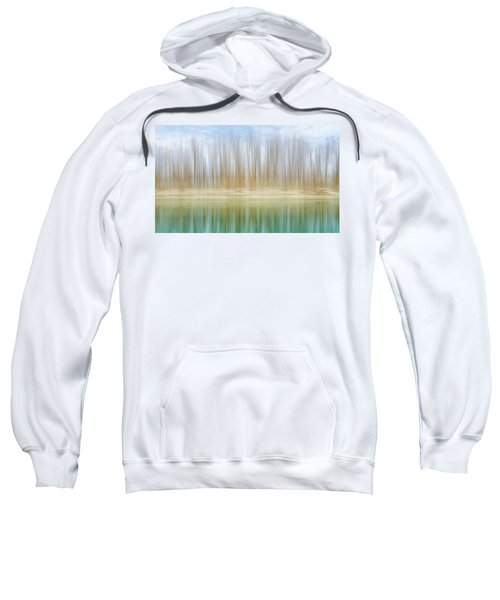 Winter Trees On A River Bank Reflecting Into Water Sweatshirt
