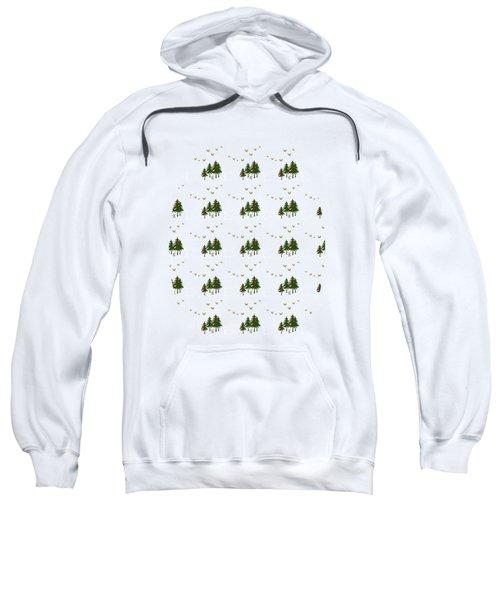 Sweatshirt featuring the mixed media Winter Woodlands Bird Pattern by Christina Rollo