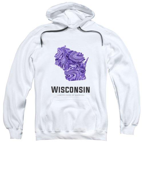 Wisconsin Map Art Abstract In Violet Sweatshirt
