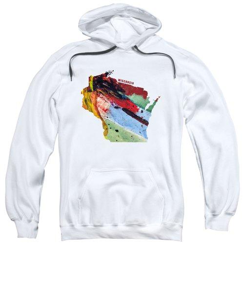 Wisconsin Map Art - Painted Map Of Wisconsin Sweatshirt