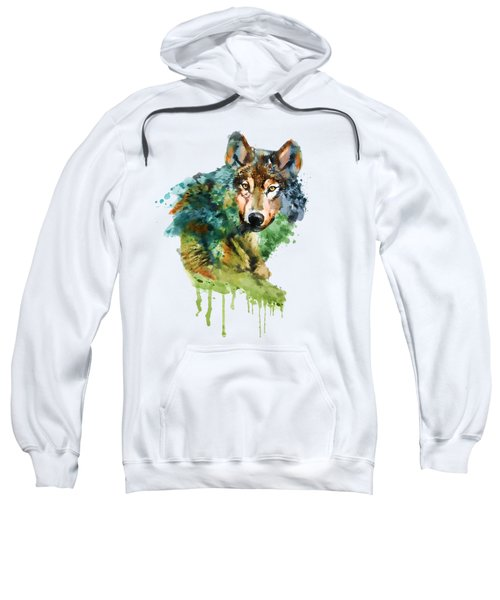 Wolf Face Watercolor Sweatshirt by Marian Voicu