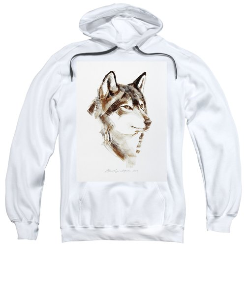Wolf Head Brush Drawing Sweatshirt