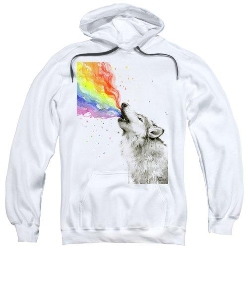 Wolf Rainbow Watercolor Sweatshirt by Olga Shvartsur