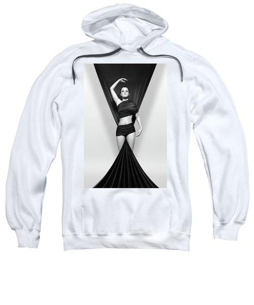 Woman Draped In Black Cloth Sweatshirt