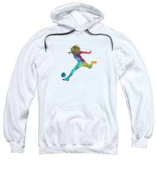 Woman Soccer Player 01 In Watercolor Sweatshirt by Pablo Romero