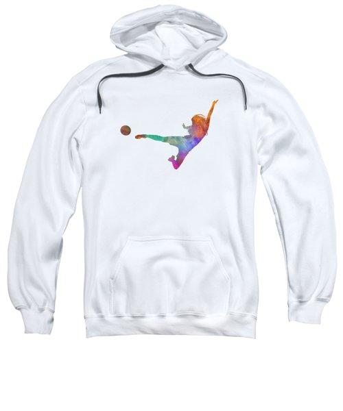 Woman Soccer Player 02 In Watercolor Sweatshirt by Pablo Romero
