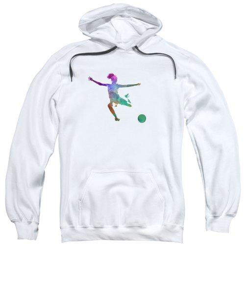 Woman Soccer Player 03 In Watercolor Sweatshirt by Pablo Romero