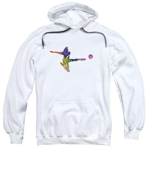 Woman Soccer Player 04 In Watercolor Sweatshirt by Pablo Romero