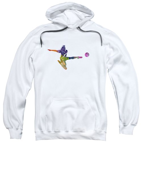Woman Soccer Player 04 In Watercolor Sweatshirt
