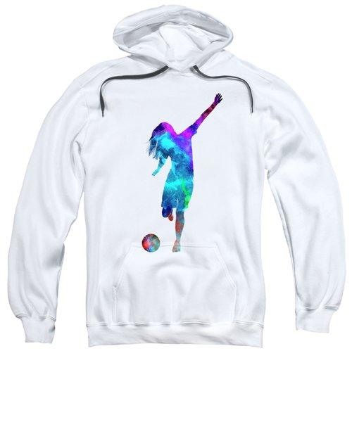 Woman Soccer Player 05 In Watercolor Sweatshirt by Pablo Romero