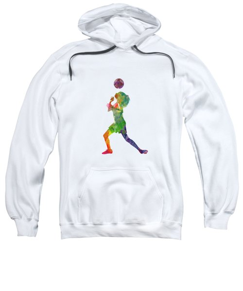 Woman Soccer Player 06 In Watercolor Sweatshirt
