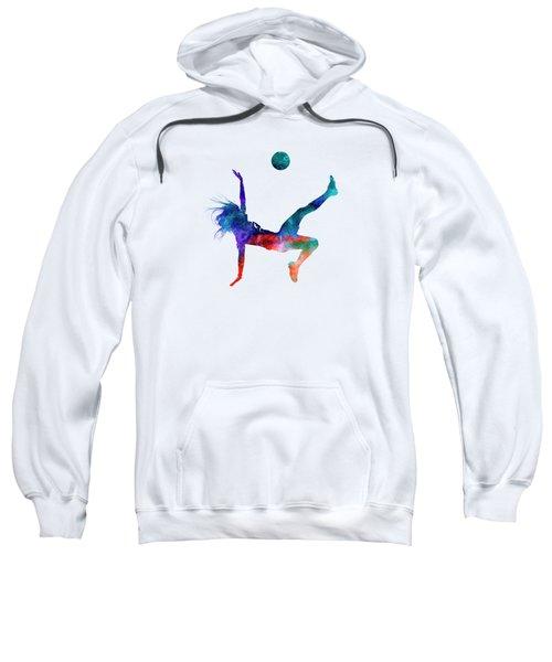 Woman Soccer Player 08 In Watercolor Sweatshirt by Pablo Romero