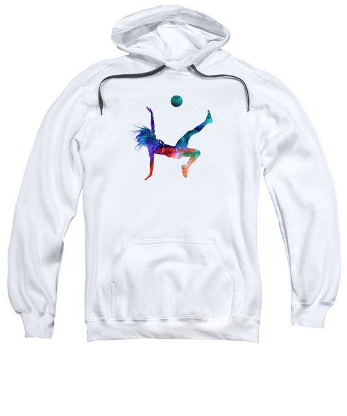 Woman Soccer Player 08 In Watercolor Sweatshirt