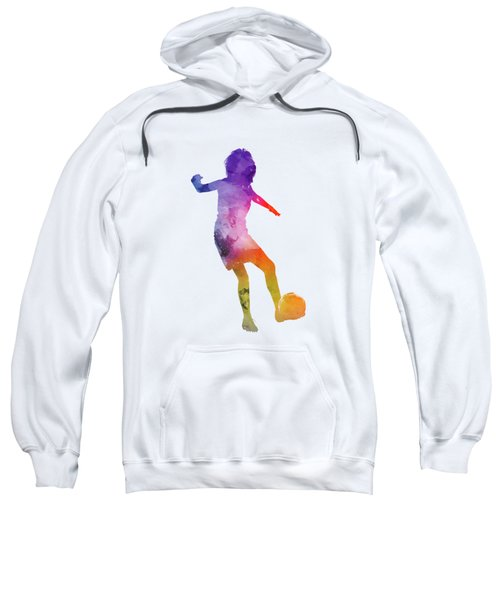 Woman Soccer Player 15 In Watercolor Sweatshirt