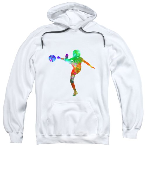 Woman Soccer Player 17 In Watercolor Sweatshirt by Pablo Romero