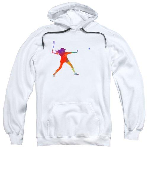 Woman Tennis Player 01 In Watercolor Sweatshirt by Pablo Romero