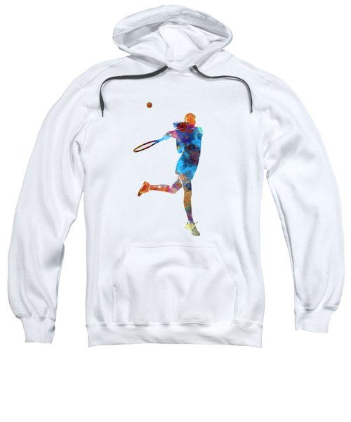 Woman Tennis Player 03 In Watercolor Sweatshirt by Pablo Romero