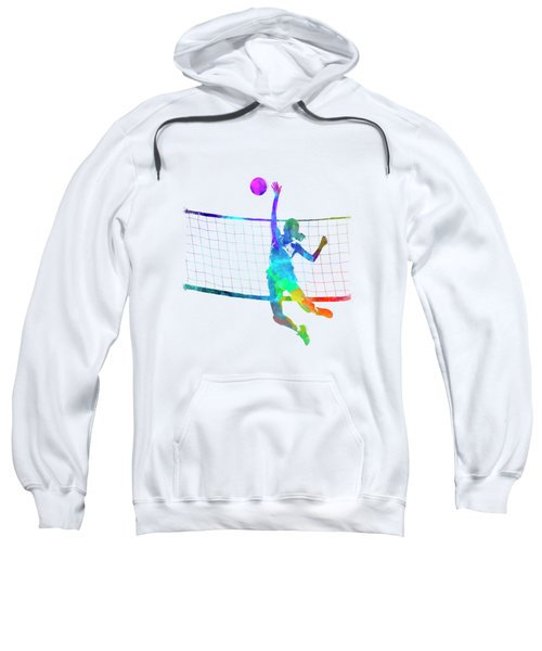 Woman Volleyball Player In Watercolor Sweatshirt
