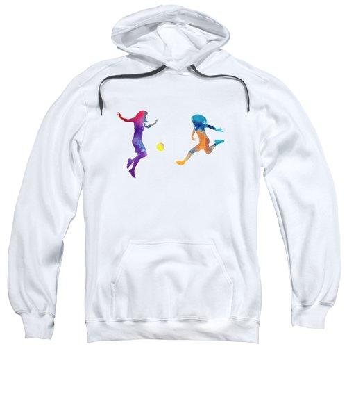 Women Soccer Players 01 In Watercolor Sweatshirt by Pablo Romero