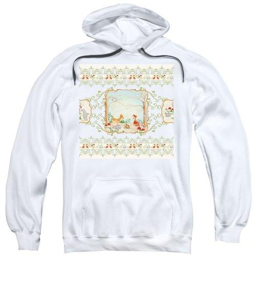 Woodland Fairy Tale - Aqua Blue Forest Gathering Of Woodland Animals Sweatshirt