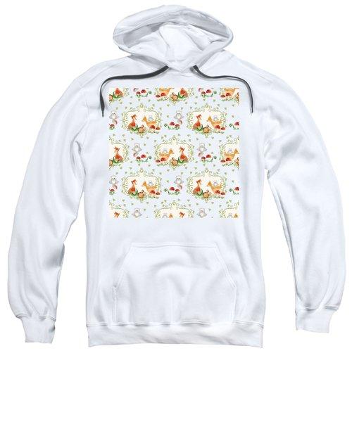 Woodland Fairy Tale -  Warm Grey Sweet Animals Fox Deer Rabbit Owl - Half Drop Repeat Sweatshirt by Audrey Jeanne Roberts