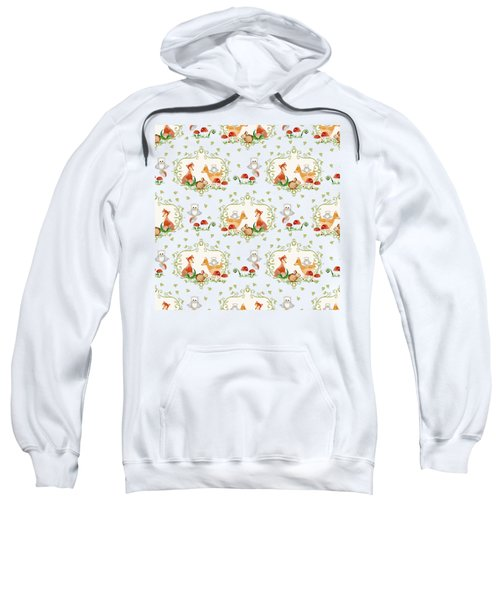 Woodland Fairy Tale -  Warm Grey Sweet Animals Fox Deer Rabbit Owl - Half Drop Repeat Sweatshirt