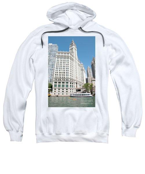 Wrigley Building Overlooking The Chicago River Sweatshirt